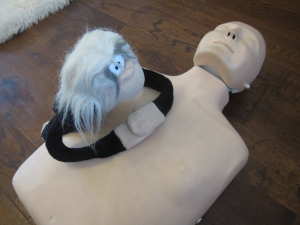 Monkey does chest compressions on the manikin.