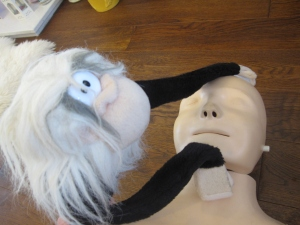 Monkey opens the airway with the chin lift.