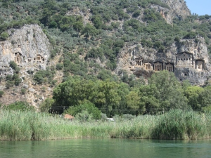 The Lycian tock tombs at Dalyan.