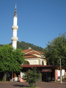 The town mosque with the butchers on the corner.