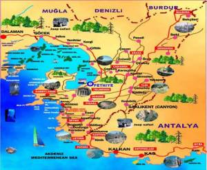 A map of the part of Turkey I was travelling around.