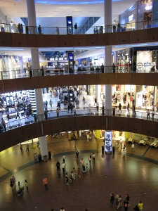 The shopping mall's interior.