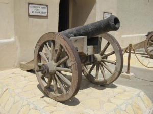 One of the cannons at the entrance of the fort.
