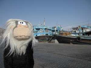 Me posing next to one of the dhows.