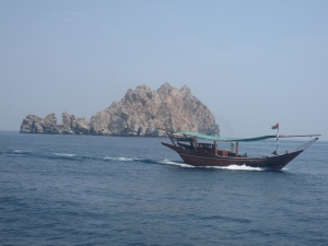 Arriving at one of the dive sites off the Oman coastline.